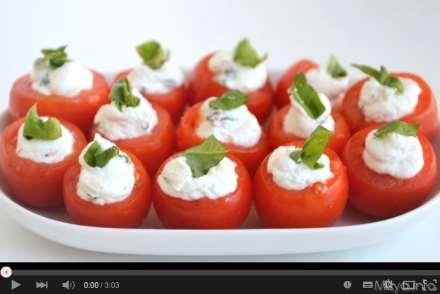 Video pomodorini ripieni di caprino