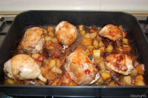 Pollo al forno patate e funghi