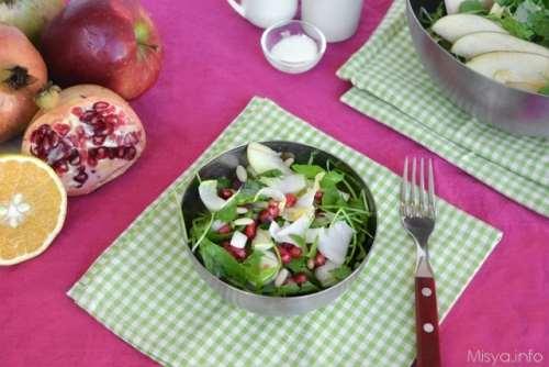 Contorni ricette Insalata di indivia mele e melograno
