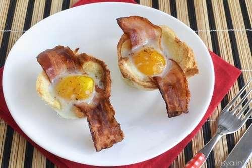 Ricette Secondi piatti Cestini di uova e bacon