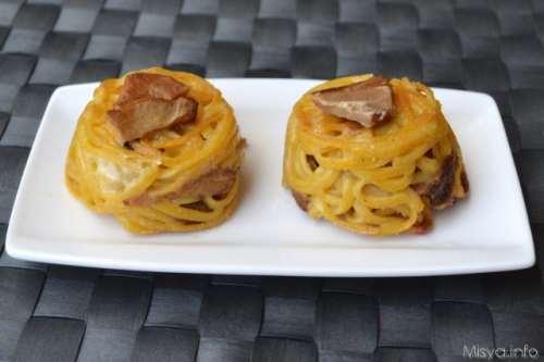Ricette Pasta Timballini di tagliolini ai porcini