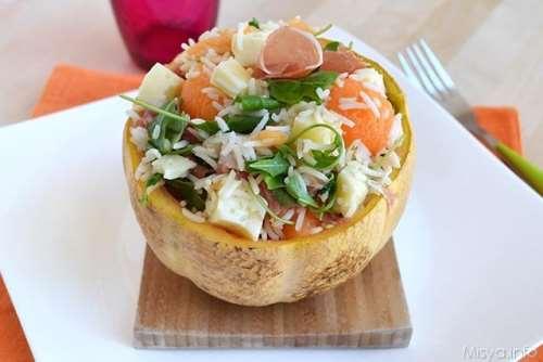 Insalate ricette Insalata di riso prosciutto e melone