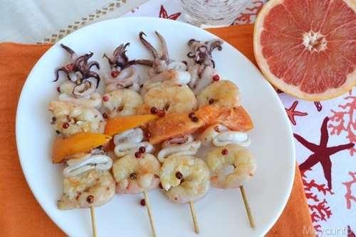 Ricette di San Valentino Spiedini di gamberi e calamari