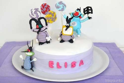 Ricette Torte di compleanno Torta Oggy e i maledetti scarafaggi