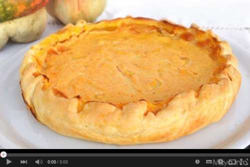 Videoricette ricette Video ricetta torta salata con zucca e ricotta