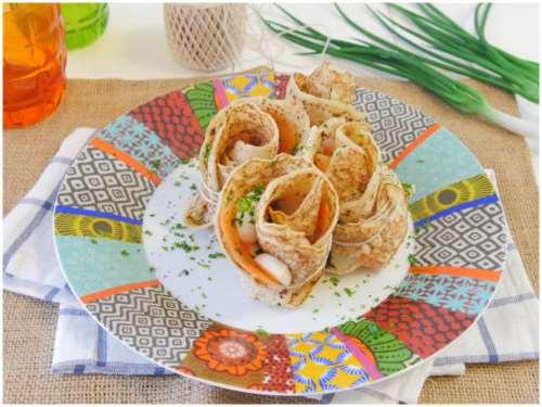 Ricette  Fagottini di crepes con salmone e mozzarella